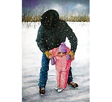 Cowboy Dad Teaching Daughter to Skate: Oil Pastel, Winter Photographic Print