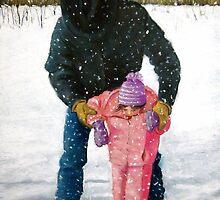 Cowboy Dad Teaching Daughter to Skate: Oil Pastel, Winter by Joyce Geleynse