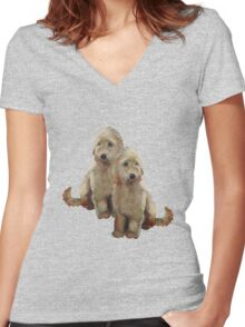Golden Doodle Puppies, Dog Couple, Oil Pastel Art Women's Fitted V-Neck T-Shirt
