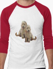 Golden Doodle Puppies, Dog Couple, Oil Pastel Art Men's Baseball ¾ T-Shirt