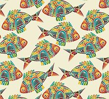 Colorful Modern Abstract Geometric Fish Pattern by sale