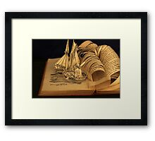 Treasure Island book sculpture. Still no soul appeared upon her decks. Framed Print