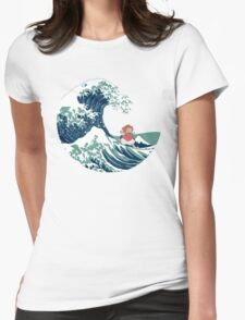 Ponyo and The Great Wave off Kanagawa - Moderne Womens Fitted T-Shirt