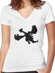 Lugia silhouette Women's Fitted V-Neck T-Shirt