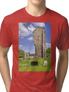 West Wall Remains, Ticknall Old Church Tri-blend T-Shirt
