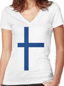 Finland Flag Women's Fitted V-Neck T-Shirt