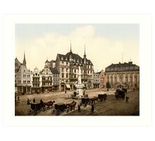 Vintage 1890s Bonn Germany Marktplatz colour photo Art Print