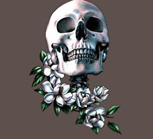 Skull & Magnolia Flowers Womens Fitted T-Shirt