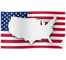 American flag and map Poster