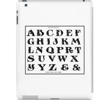 Vintage 1906 Alphabet Rustic Roman font black and white art iPad Case/Skin