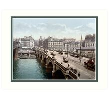 Vintage 1890s Glasgow Bridge Scotland colour photo Art Print
