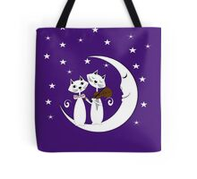 Cats Serenade Sitting On A Crescent Moon Tote Bag