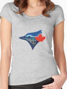 Toronto Blue Jays Skyline Logo Women's Fitted Scoop T-Shirt