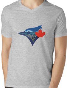 Toronto Blue Jays Skyline Logo Mens V-Neck T-Shirt