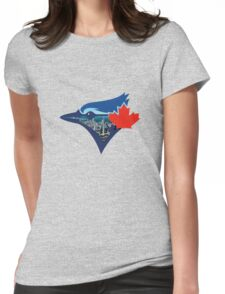 Toronto Blue Jays Skyline Logo Womens Fitted T-Shirt