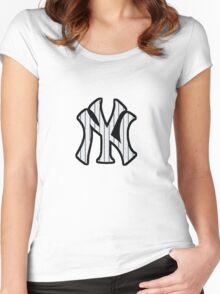 New York Yankees Pinstripes Logo Women's Fitted Scoop T-Shirt