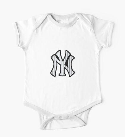 New York Yankees Pinstripes Logo One Piece - Short Sleeve