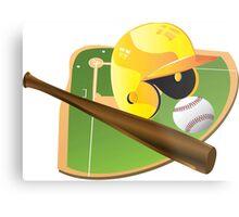 Yellow Baseball Metal Print