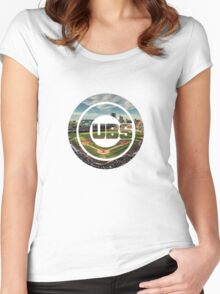 Chicago Cubs Stadium Logo Women's Fitted Scoop T-Shirt