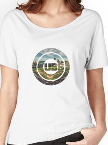 Chicago Cubs Stadium Logo Women's Relaxed Fit T-Shirt