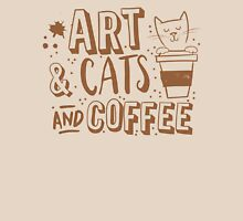 Art and Cats and coffee Womens Fitted T-Shirt