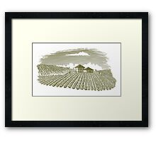 Woodcut Vineyard Landscape Framed Print