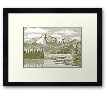 Woodcut Mountain River Framed Print