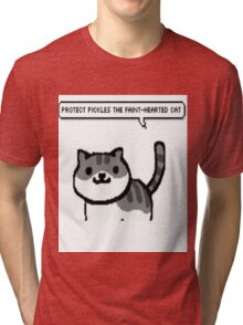 protect pickles the faint-hearted cat Tri-blend T-Shirt