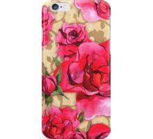 Baroque Roses, painterly roses against damask iPhone Case/Skin