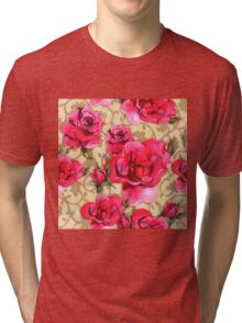 Baroque Roses, painterly roses against damask Tri-blend T-Shirt