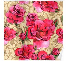 Baroque Roses, painterly roses against damask Poster