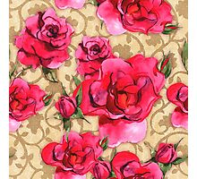Baroque Roses, painterly roses against damask Photographic Print