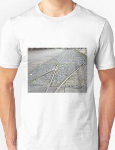Abandoned Trolley Tracks, Cobblestone Street, Hoboken, New Jersey  Unisex T-Shirt