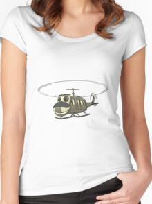 Military Helicopter Cartoon Women's Fitted Scoop T-Shirt