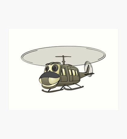 Military Helicopter Cartoon Art Print
