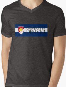 University of Denver / Colorado Flag Mens V-Neck T-Shirt