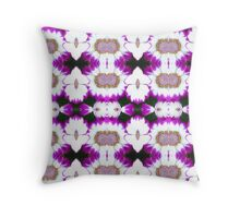 Magenta and white flower repeat. Throw Pillow