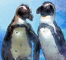 Painterly Penguin Pair by Carol Vega
