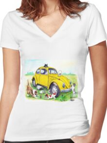 Taxi Bug's Easter with Doggy Friends Women's Fitted V-Neck T-Shirt