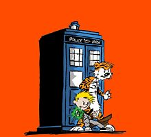 calvin and hobbes police box in action T-Shirt