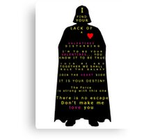 Star Wars Darth Vader: Valentines Canvas Print