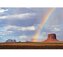 Double Rainbow over Monument Valley, Arizona, USA Photographic Print