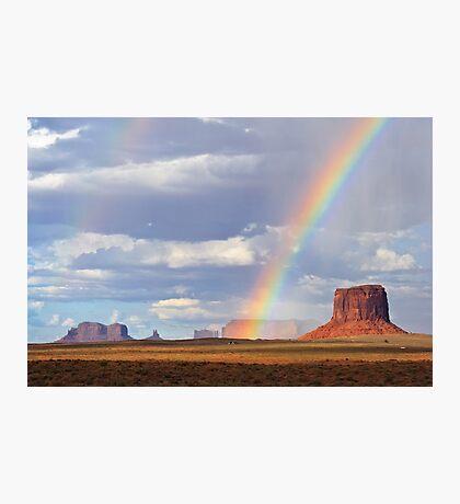 Double Rainbow over Monument Valley, Arizona, USA Photographic Print