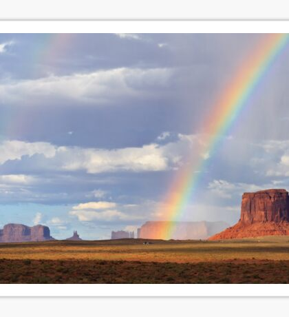 Double Rainbow over Monument Valley, Arizona, USA Sticker