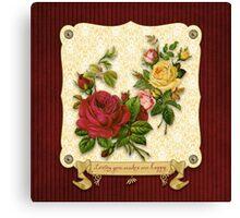 Loving You Makes Me Happy Elegant Roses Damask Canvas Print