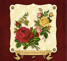 Loving You Makes Me Happy Elegant Roses Damask by Beverly Claire Kaiya
