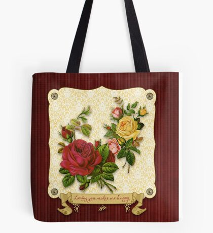 Loving You Makes Me Happy Elegant Roses Damask Tote Bag