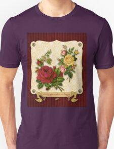 Loving You Makes Me Happy Elegant Roses Damask Unisex T-Shirt