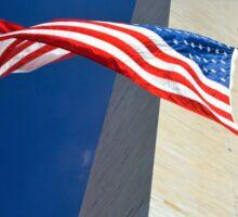 American flag at Washington monument, Washington, DC Sticker