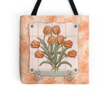 Vintage Orange Tulips Peach Pink Plaid Green Ribbon Tote Bag